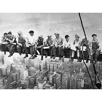 'Men on Steel Beam Lunchtime Atop NYC' by John C Ebbets Framed Photographic Print on Canvas CAN AUS901 28x22 Gallery Wrap B