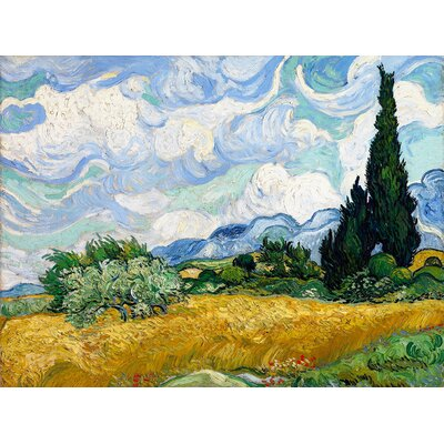 'Wheat Field' by Vincent Van Gogh Painting Print on Wrapped Canvas CAN CCA2002 1216