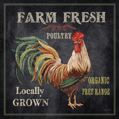 """'Farm Fresh Rooster' by Jean Plout Graphic Art on Wrapped Canvas Size: 36"""" H x 36"""" W x 1.5"""" D LFMF2507 42620552"""