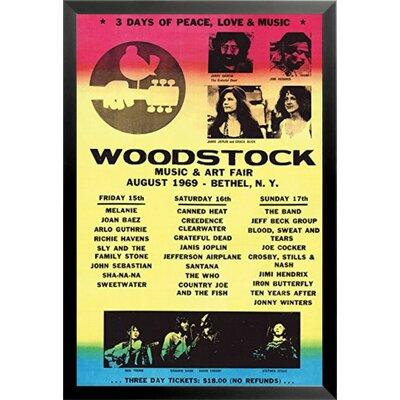 'Woodstock Line-Up 1969 Poster' Framed Vintage Advertisement IF 36600 24x36 1.25 Black
