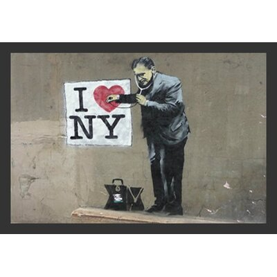 'Loves Ny' by Banksy Framed Graphic Art IF BAN010 36x24 1.25 Black Plexi