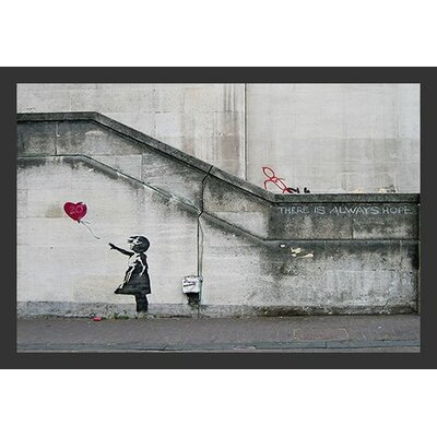'There Is Always Hope Balloon Girl' by Banksy Framed Graphic Art IF BAN007 36x24 1.25 Black