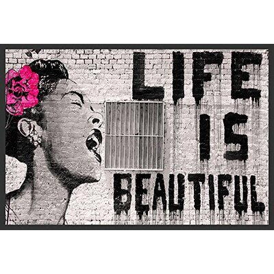 'Life Is Beautiful' by Banksy Framed Graphic Art IF BAN011X 36x24 1.25 Black