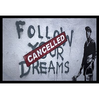 """'Follow Your Dreams Cancelled Giclee Print' by Banksy Framed Graphic Art IF BAN003 24x18 1.25"""" Black"""