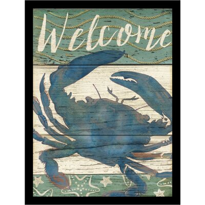 "'Blue Crab Welcome Poster' by Beth Albert Framed Graphic Art Size: 24"" H x 18"" W x 1"" D IF BA1511 18x24 1.25 Black"