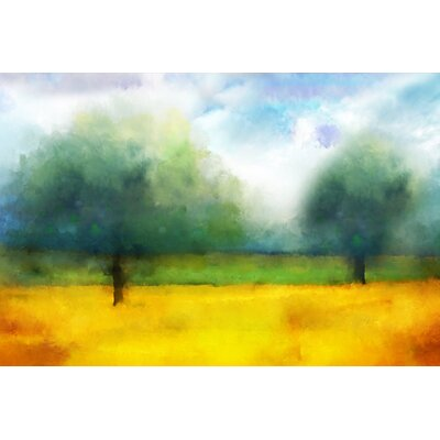 'Watercolor Landscape Abstract I' by Cliff Warner Painting Print on Wrapped Canvas Size: 24 H x 36 W x 1.5 D