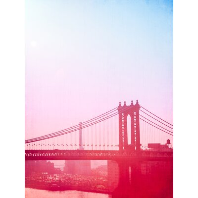 'Ombre Welcome to Manhattan Bridge NYC' Photographic Print on Wrapped Canvas Size: 16