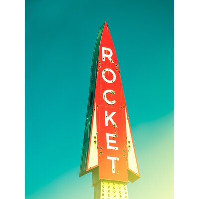 'Retro Rocket Sign' Graphic Art Print on Wrapped Canvas Size: 16