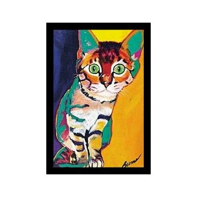 'Tiger Cat Cute Funny Animals' Framed Graphic Art Print on Wood