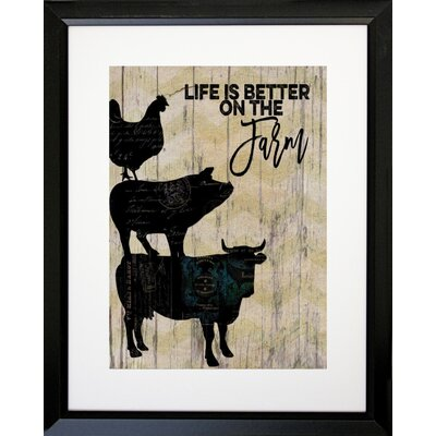 'Life Is Better on the Farm' Graphic Art Print IF BF5796 16x20 Black 1.25 S