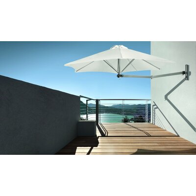 9' Paraflex Wall Mount Umbrella Fabric: Sunbrella Acrylic - Canvas PXWF-R27-EURO-SLV-SB-5453