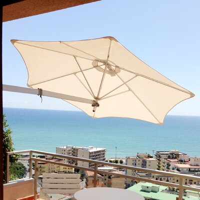 9' Paraflex Wall Mount Umbrella Fabric: Sunbrella Acrylic - Canvas PXWF-R27-EURO-SLV-SB-5453-LONG