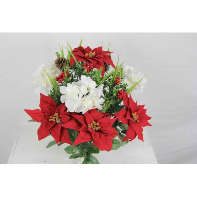 Christmas Themed Mixed Flower Arrangement with Poinsettias and Hydrangea. Flower Color: White and Red GPB5803-RD/CM