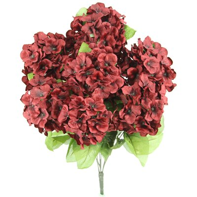 7 Stems Artificial Full Blooming Stain Hydrangea Color: Wine