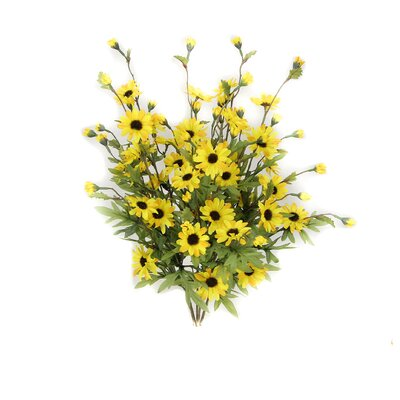6 Stems Artificial Full Blooming Daisy Flowers, Flower Buds And Greenery Color: Yellow Mix