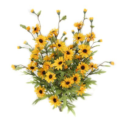 6 Stems Artificial Full Blooming Daisy Flowers, Flower Buds And Greenery Color: Gold