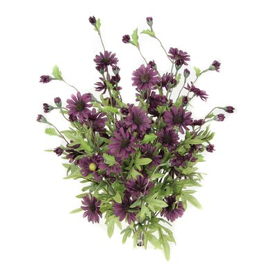 6 Stems Artificial Full Blooming Daisy Flowers, Flower Buds And Greenery Color: Grape