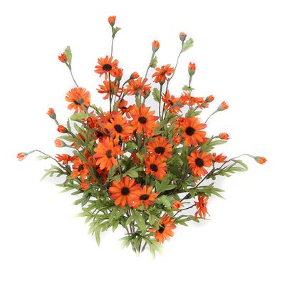 6 Stems Artificial Full Blooming Daisy Flowers, Flower Buds And Greenery Color: Orange