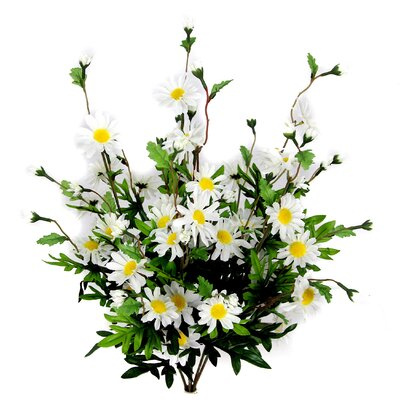 6 Stems Artificial Full Blooming Daisy Flowers, Flower Buds And Greenery Color: Cream