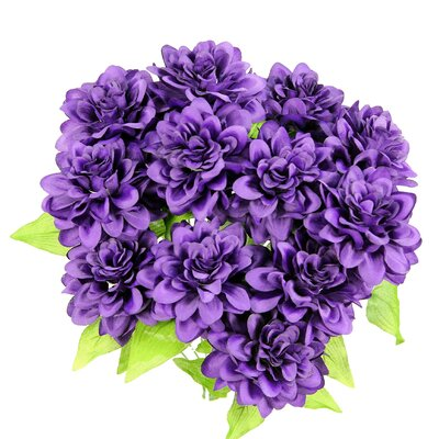 12 Stems Artificial Full Blooming Dahlia Color: Purple