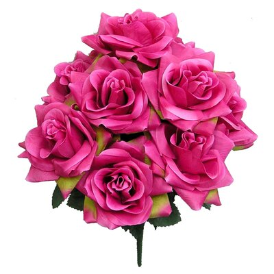 9 Stems Artificial Blossoms Rose Bush Color: Velvet WLAO3164 42670827