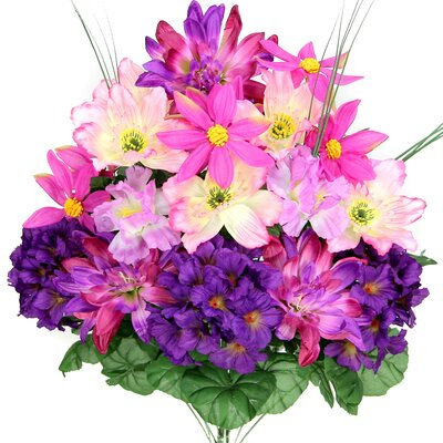18 Stems Artificial Full Blooming Dalia, Azalia and Hydrangea Mixed Bush with Greenery Color: Lilac Mix