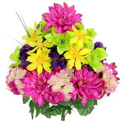 18 Stems Artificial Full Blooming Dalia, Azalia and Hydrangea Mixed Bush with Greenery Color: Velvet / Yellow / Violet / Kiwi