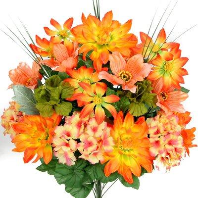 18 Stems Artificial Full Blooming Dalia, Azalia and Hydrangea Mixed Bush with Greenery Color: Coral