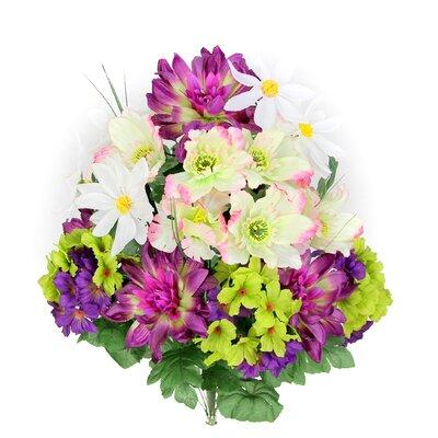 18 Stems Artificial Full Blooming Dalia, Azalia and Hydrangea Mixed Bush with Greenery Color: Grape Mix