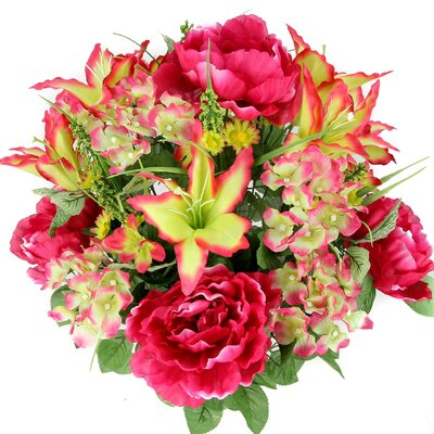 24 Stems Artificial Full Blooming Tiger Lily, Peony and Hydrangea Mixed Bush with Green Foliage Color: Velvet