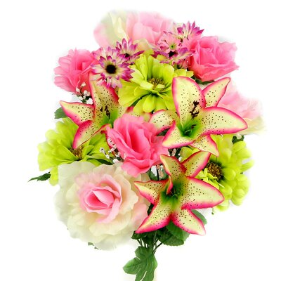 14 Stems Artificial Full Blooming Rose, Lily and Gerbera Daisy Mixed Bush with Greenery Color: Pink / Celery