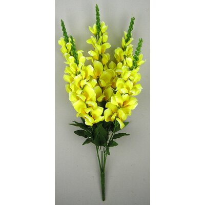 5 Stems Artificial Blooming Snapdragon Bush With Greenery Color: Yellow