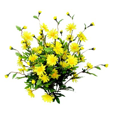 6 Stems Artificial Full Blooming Daisy Flowers, Flower Buds And Greenery Color: Yellow