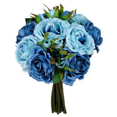 Artificial 11 Stem Rose Bouquet Color: Sky Blue
