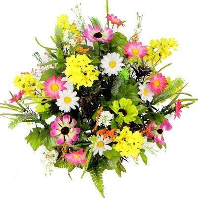 Artificial Full Blooming Lilac, Daisy and Black Eyed Susan with Foliage Mixed Flowers Bush Color: Velvet/Kiwi/Violet/Yellow