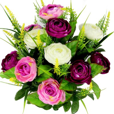 Artificial Ranunculus and Fillers Mixed Flowers Bush Color: Lilac/Orchid/Cream