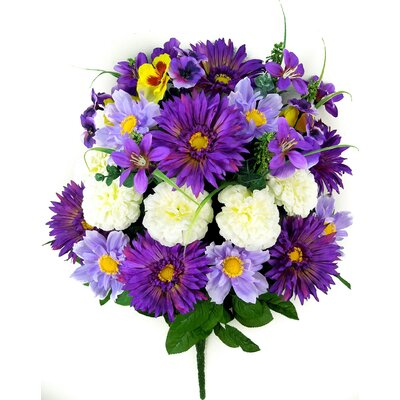 Artificial Blooming Gerbera Daisy, Scabiosa and Zinnia with Fillers Mixed Flowers Bush Color: Lavender Mix