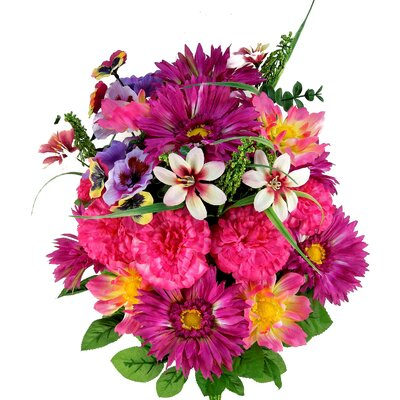 Artificial Blooming Gerbera Daisy, Scabiosa and Zinnia with Fillers Mixed Flowers Bush Color: Lilac Mix