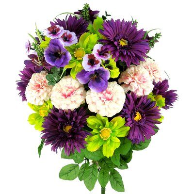 Artificial Blooming Gerbera Daisy, Scabiosa and Zinnia with Fillers Mixed Flowers Bush Color: Violet/Celery/Pink