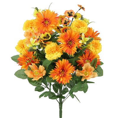 Artificial Blooming Gerbera Daisy, Scabiosa and Zinnia with Fillers Mixed Flowers Bush Color: Orange Mix