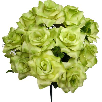 Artificial Blooming Veined Satin Rose Flowers Bush Color: Kiwi