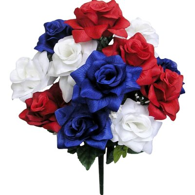 Artificial Blooming Veined Satin Rose Flowers Bush Color: Red/White/Blue GPB293-RD/WT/BL