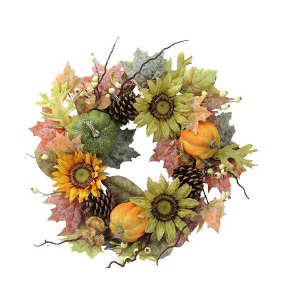 Faux Sunflower & Pinecone Wreath GFW6002-NATURAL