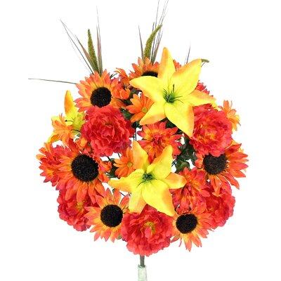 36 Stems Lily, Peony, Sunflower, Daisy, Mum Greenery with Foliage Mixed Flowers Bush for Home Office, Wedding, Restaurant Decoration Arrangement GPB5430-CARAMEL MIX