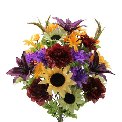36 Stems Lily, Peony, Sunflower, Daisy, Mum Greenery with Foliage Mixed Flowers Bush for Home Office, Wedding, Restaurant Decoration Arrangement Flower Color: Purple/Gold/Burgundy