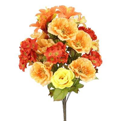 24 Stems Large Poppy, Rose, Hydrangea Mixed Flowers Bush for Home Office, Wedding, Restaurant Decoration Arrangement GPB6328-BT/KW MIX