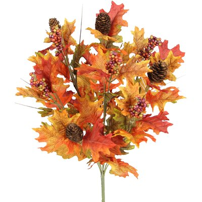 9 Stems Artificial Maple Leaves, Pine Cones and Berries Foliage Bush for Home, Fall Wedding, Halloween or Thanksgiving Floral Arrangement Flower Color: Tuscany Mix