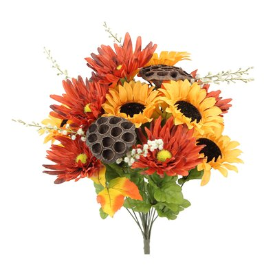 14 Stems Artificial Sunflower, Gerbera Daisy and Lotus Root Mixed Flowers Bush for Home Office, Wedding, Restaurant Decoration Arrangement Flower Color: Gold/Rust