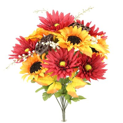 14 Stems Artificial Sunflower, Gerbera Daisy and Lotus Root Mixed Flowers Bush for Home Office, Wedding, Restaurant Decoration Arrangement Flower Color: Orange/Burgundy