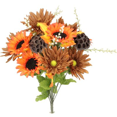 14 Stems Artificial Sunflower, Gerbera Daisy and Lotus Root Mixed Flowers Bush for Home Office, Wedding, Restaurant Decoration Arrangement Flower Color: Orange/Brown